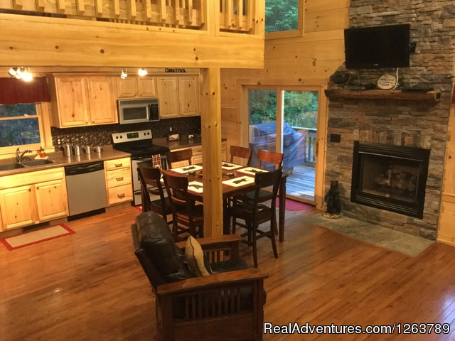 Open Living Area - Luxury Cabin on Beautiful Mt Stream Great Rates