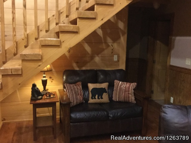 Master Bedroom, with custom built furniture (#15 of 22) - Luxury Cabin on Beautiful Mt Stream Great Rates