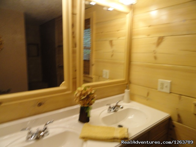 Master Bath (#16 of 22) - Luxury Cabin on Beautiful Mt Stream Great Rates
