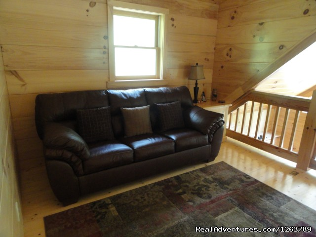Sleeper Sofa up in loft area (#18 of 22) - Luxury Cabin on Beautiful Mt Stream Great Rates