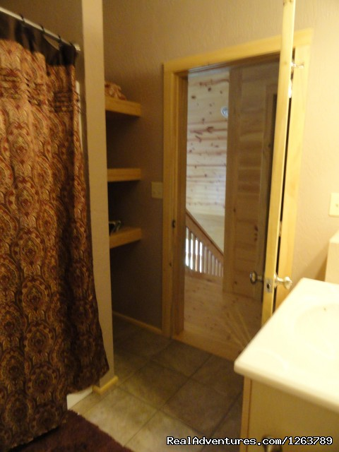 2nd Bathroom Upstairs (#19 of 22) - Luxury Cabin on Beautiful Mt Stream Great Rates