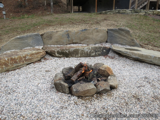 Large Boulder Fire Pit Overlooking Creek (#22 of 22) - Luxury Cabin on Beautiful Mt Stream Great Rates