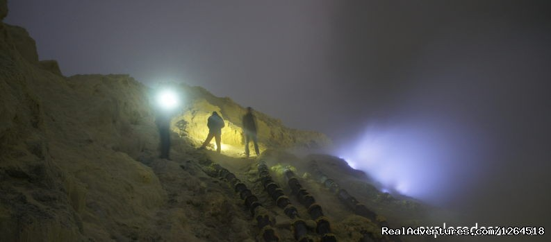 Blue Flame at Kawah Ijen Volcano, Indonesia
