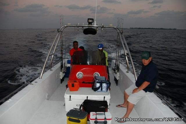 - Fishing for GTs by speed boat in Maldives.