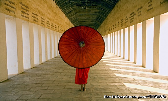 Monk With Red Parasol In Temple Myanmar (#2 of 7) - The Best Of Myanmar