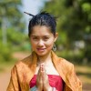 Thai girl in traditional isaan style clothes