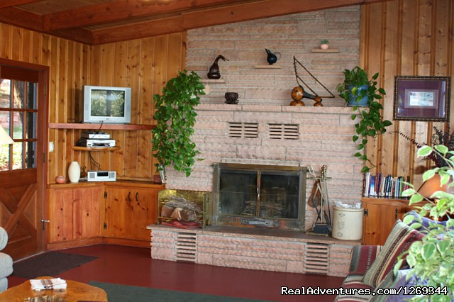 Homestead House Living Room cozy fireplace (#8 of 16) - Cathedral Rock Lodge & Retreat Center