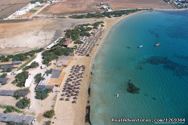 Panoramic View of Santa Maria Beach - Water sports and fun at beach campsite in Paros