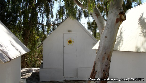 White wooden hut (#5 of 12) - Water sports and fun at beach campsite in Paros