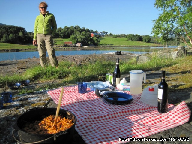 Outdoor Dinner Served - Sea Kayaking in the top of Fjord Norway