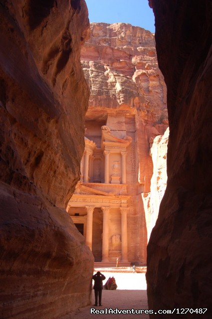 Tours to Petra - Treasury view - Tour to Petra 1 day from Eilat