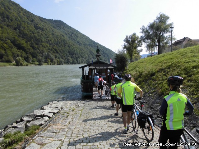 Small ferries crossing the Danube River: Austria: Passau to Vienna Bike - Freewheeling Adv.