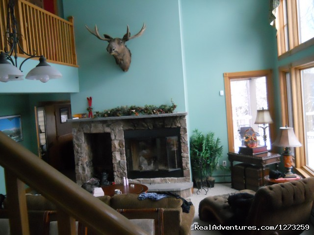 Huge Living Room With Cathedral Ceiling And Fireplace (#2 of 7) - Luxury ski house right on the slopes
