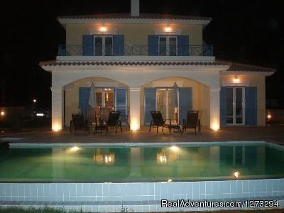 Luxury Villa set in quiet village Night time at Villa Kefalos