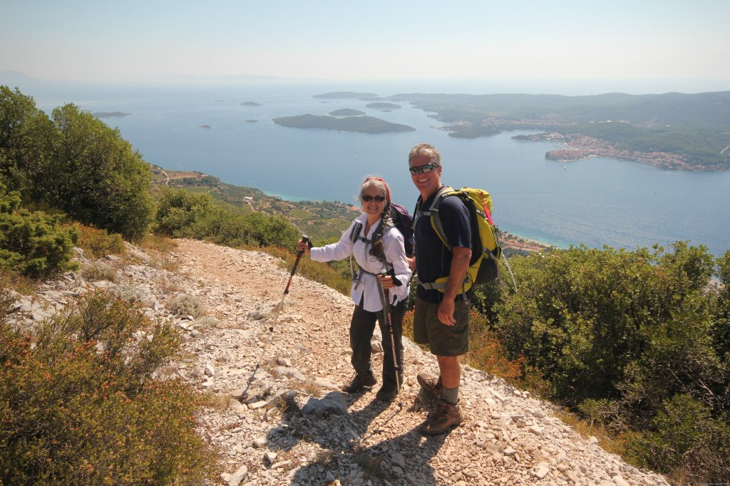 Freewheeling Adventures offers this seven night, eight day tour. Two days sea-kayaking, two days hiking, and two days cycling, on the hilly coastlines of Korčula, the Peljesac Peninsula and the island of Mljet.