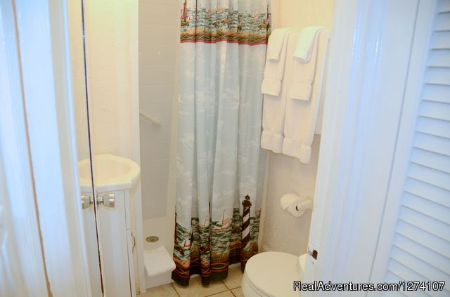 Small bathroom in king studio (no tub). - Cottages by the Ocean - Studios and 1/1