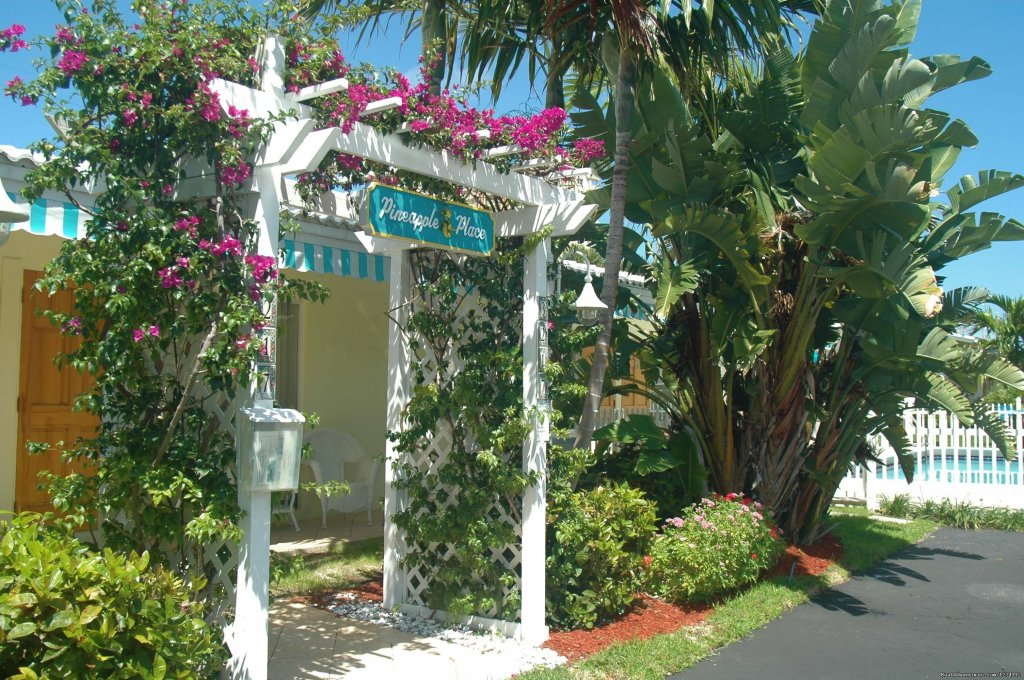 Pineapple Place is a small, well-kept property just across A-1-A Ocean Blvd. from one of South Florida's award-winning Blue Wave beaches with lifeguards, a fishing pier and lighthouse.