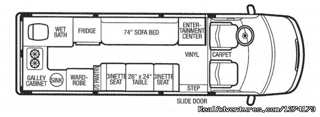 Airstream Interstate Dinette Floorplan - Airstream Interstate Touring Coach Rental RV