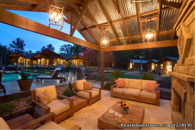 Outdoor Fireplace and Lounge Area - Deer Lake Lodge Spa & Resort
