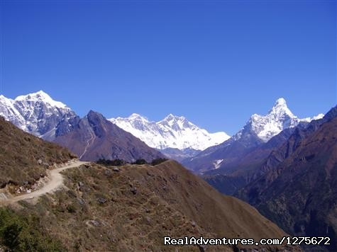 View of Mt. Lhotse, Nputse, Amadablam from Namche - Classical Everest Base Camp Climbing