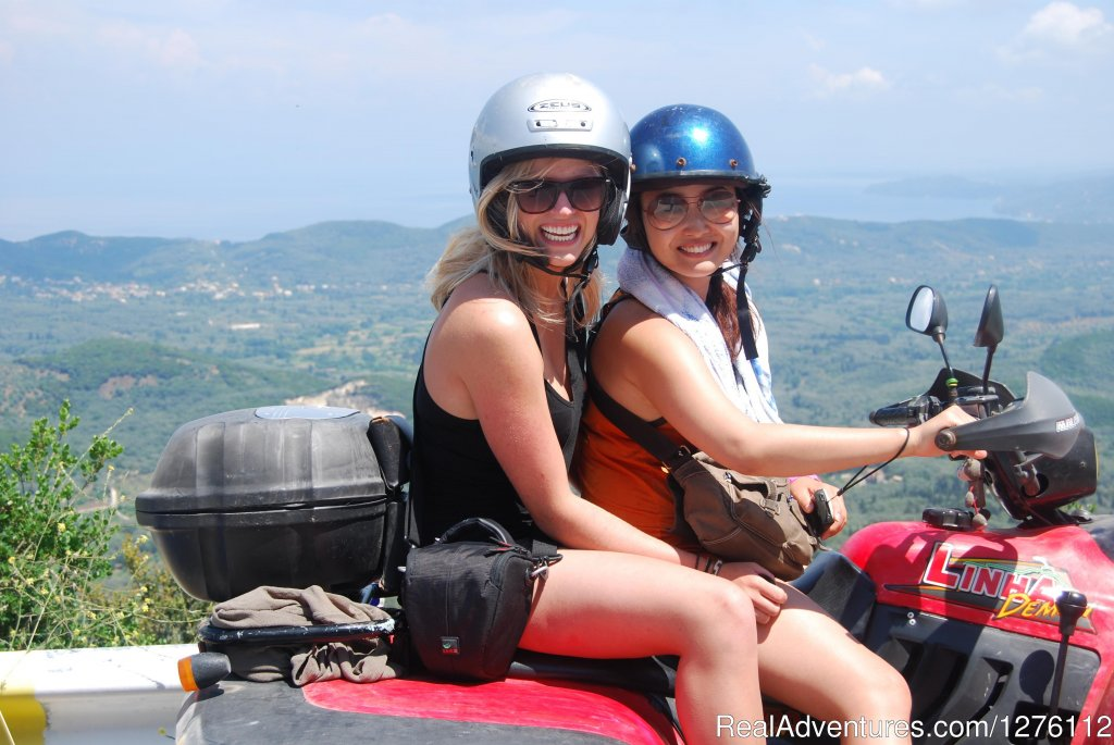 Enjoying  the tour on a 2 Person Quad | Image #7/12 | Discover Corfu beauties on Quad/ATV Safari Tour