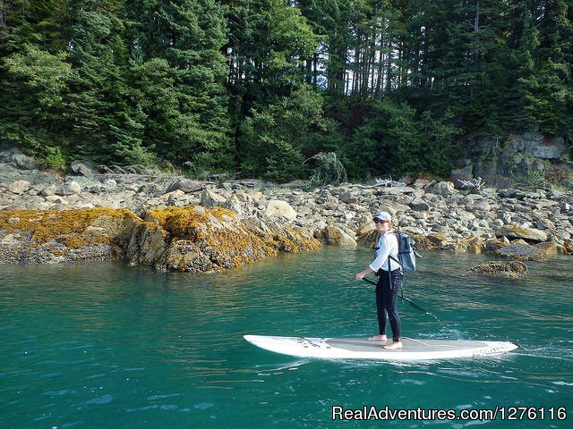 Join SURFit USA for an all inclusive adventure of paddleboarding in Alaska.  We paddle along majestic coastlines,  glaciers and lots more. Plenty of time to sample the great food, relax in deluxe accommodations and explore the beautiful area.