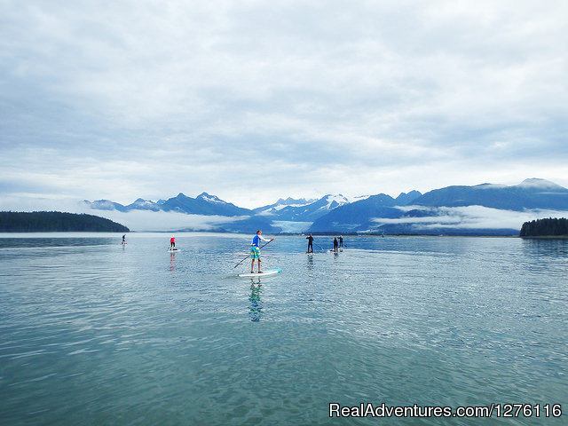 Two SUPers take a break. - Stand Up Paddleboard Adventure in Juneau, Alaska