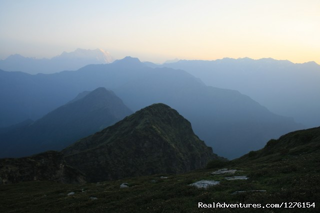 Sunrise over the Himalayas - Trekking In The Himalayas : The Roopkund Trek