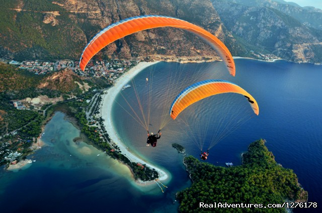 Private Blue Cruises in Turkey Greece Croatia Paragliding in Fethiye's Blue Lagoon (Oludeniz)