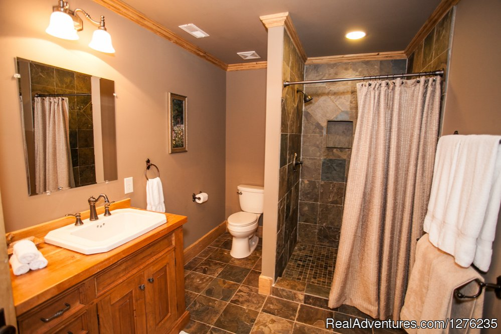 Downstairs Shower Bath with double sinks | Image #18/22 | Luxury Wildflower Cabin in the Woods, Franklin NC