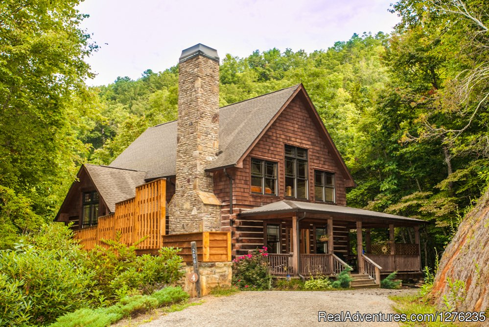Front view of Cabin | Image #22/22 | Luxury Wildflower Cabin in the Woods, Franklin NC