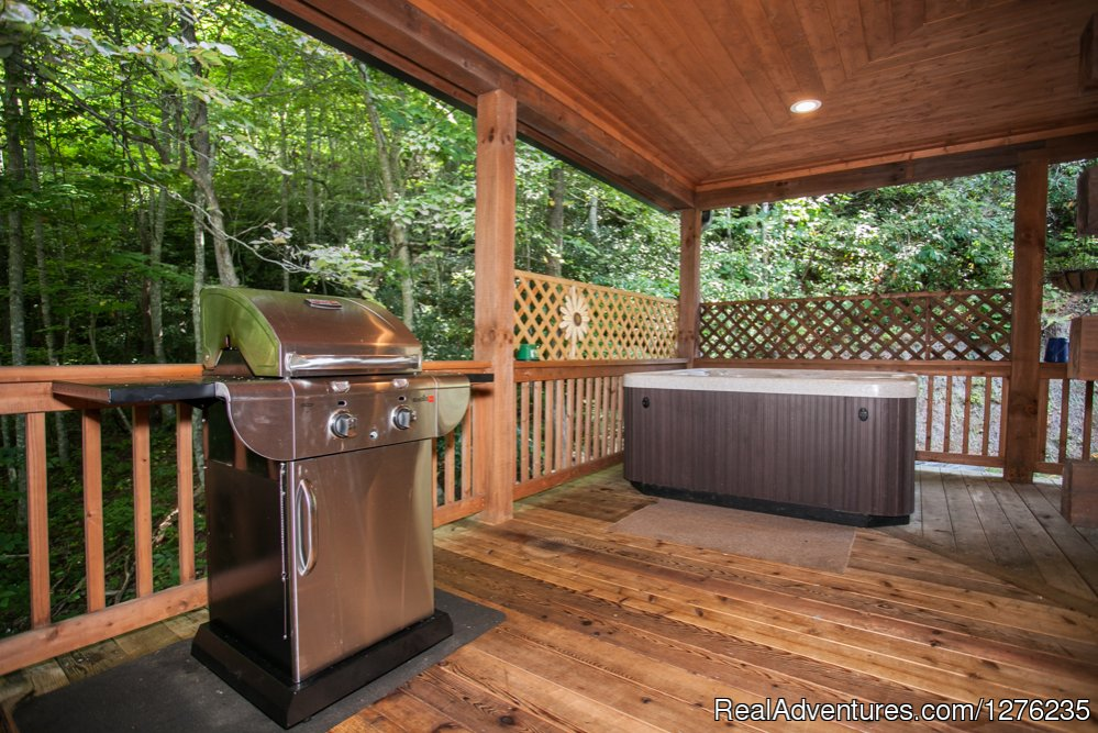 Hot Tub and Grill on Deck | Image #21/22 | Luxury Wildflower Cabin in the Woods, Franklin NC
