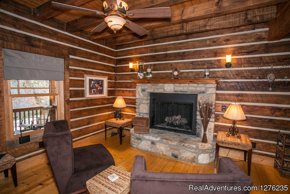 Fireplace upstairs | Image #5/22 | Luxury Wildflower Cabin in the Woods, Franklin NC
