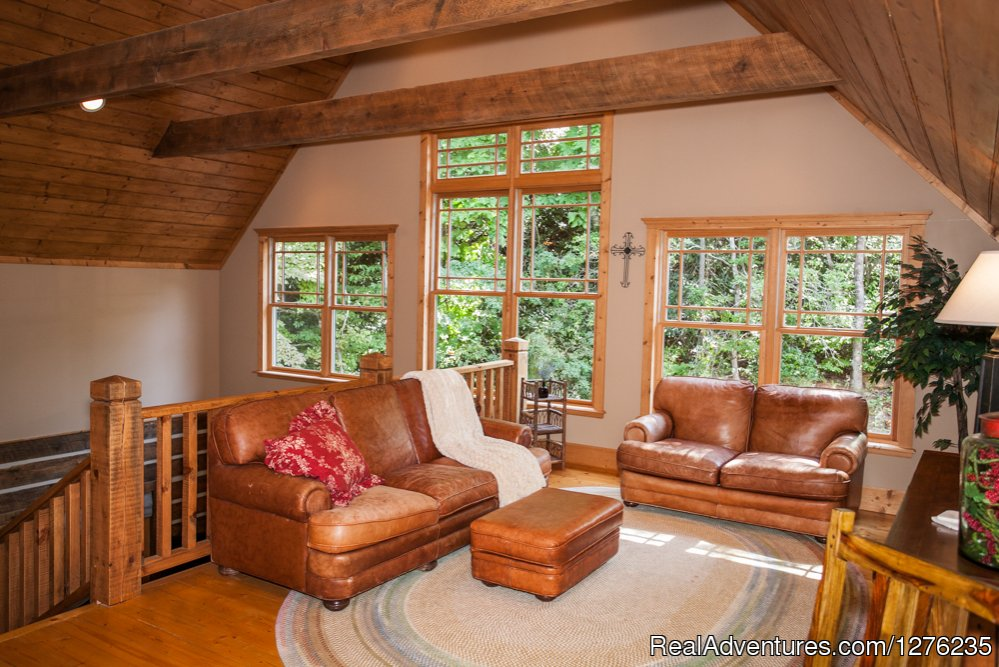 Upstairs Loft area | Image #13/22 | Luxury Wildflower Cabin in the Woods, Franklin NC