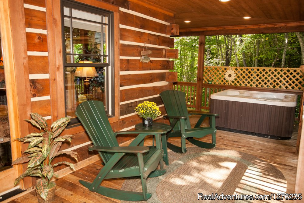 Outside deck with hot tub | Image #20/22 | Luxury Wildflower Cabin in the Woods, Franklin NC