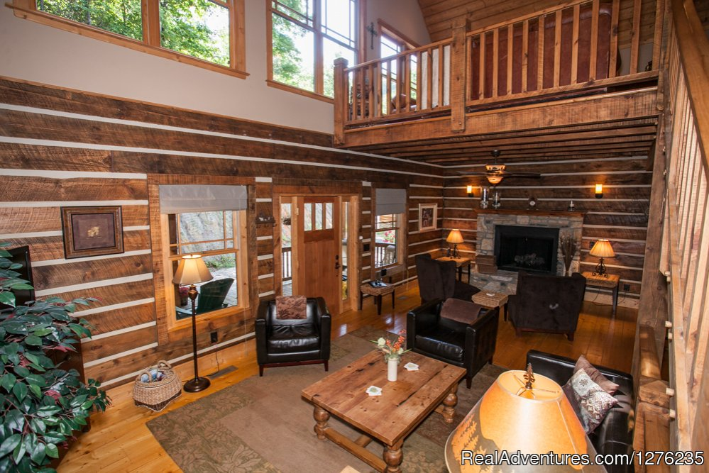 main living room with upstairs Loft | Image #3/22 | Luxury Wildflower Cabin in the Woods, Franklin NC