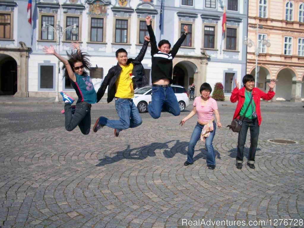 Happy group in Ceske Budejocice square | Image #2/21 | ATYPUS ADVENTURES - european private tours