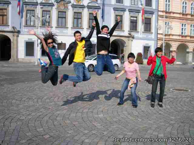 Happy group in Ceske Budejocice square - Czech/slovak  private tours