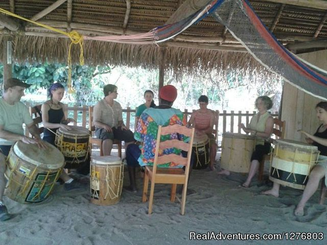 A group drumming lesson - Authentic Garifuna Culture at Warasa Drum School