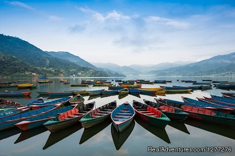 Scenic Pokhara Sightseeing Tour with Well Nepal. Gorgeous Boats at Phewa Lake side