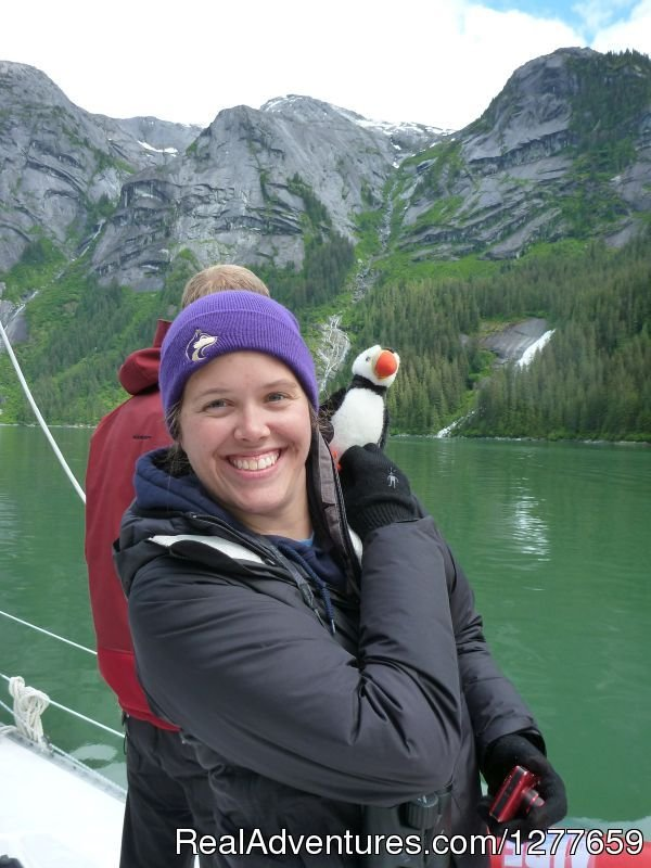 Muffing the puffin always enjoys meeting new people. | Image #9/21 | Sound Sailing- Crewed Sailboat Charters in Alaska