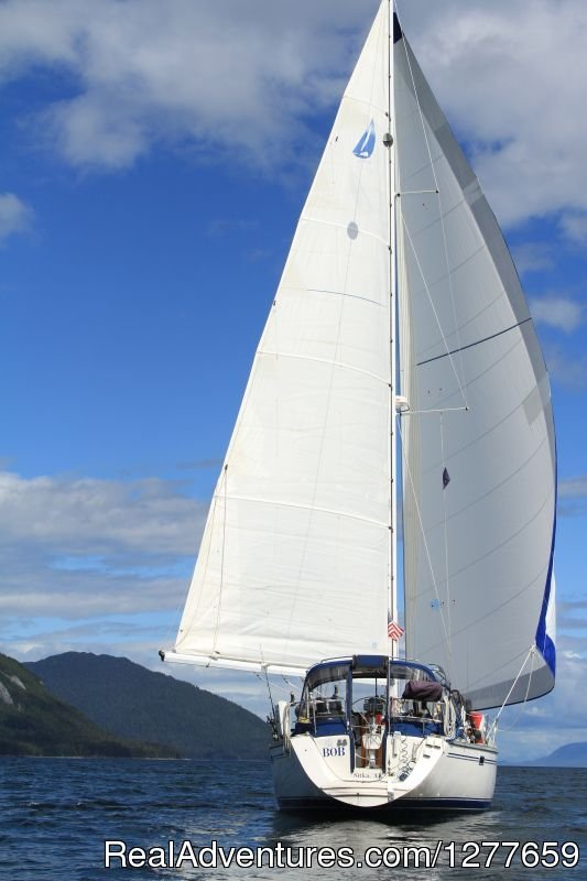 Sailboat BOB sailing wing-on-wing. | Image #20/21 | Sound Sailing- Crewed Sailboat Charters in Alaska