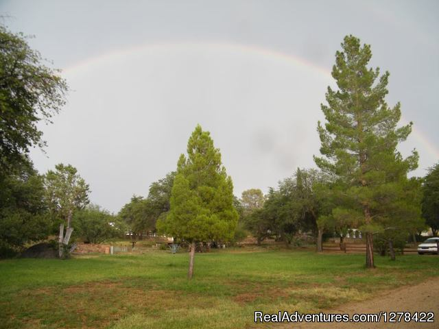 Main lawn rainbow - El Rancho Robles guest ranch and retreat center
