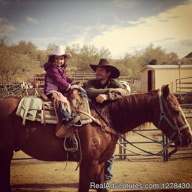 Family Friendly Guided horse trailrides. 1 hour, 1.5 hour, 2 hour,3 hour rides as well as beautiful sunset rides in the Sonoran Desert in North Scottsdale. Dress up in our boots, hats and chaps for a true western horse riding experience. Gentle horse