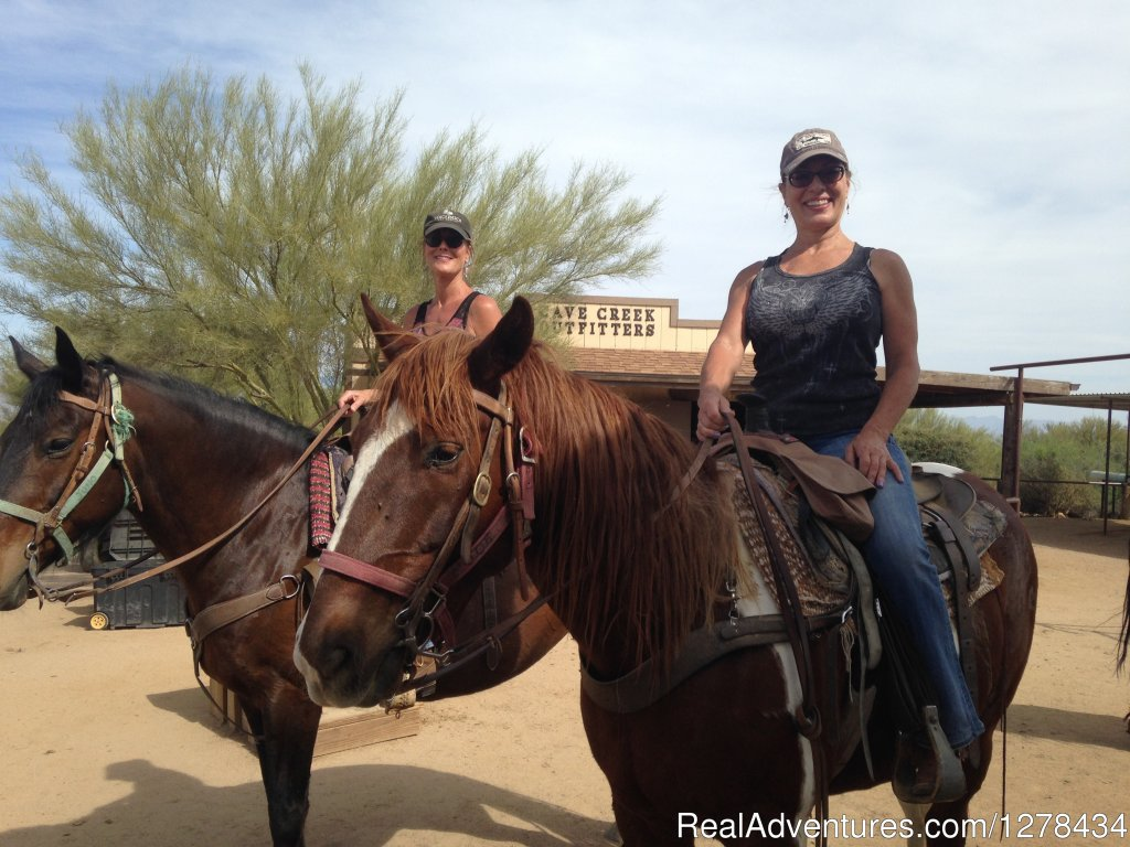 Cave Creek Outfitters is a riding stable offering rides into the Tonto National Forest and the Scottsdale Preserve. Also available Group activities such as Corporate Events, Team-building, Cowboy Cookouts, and Cowboy Games.