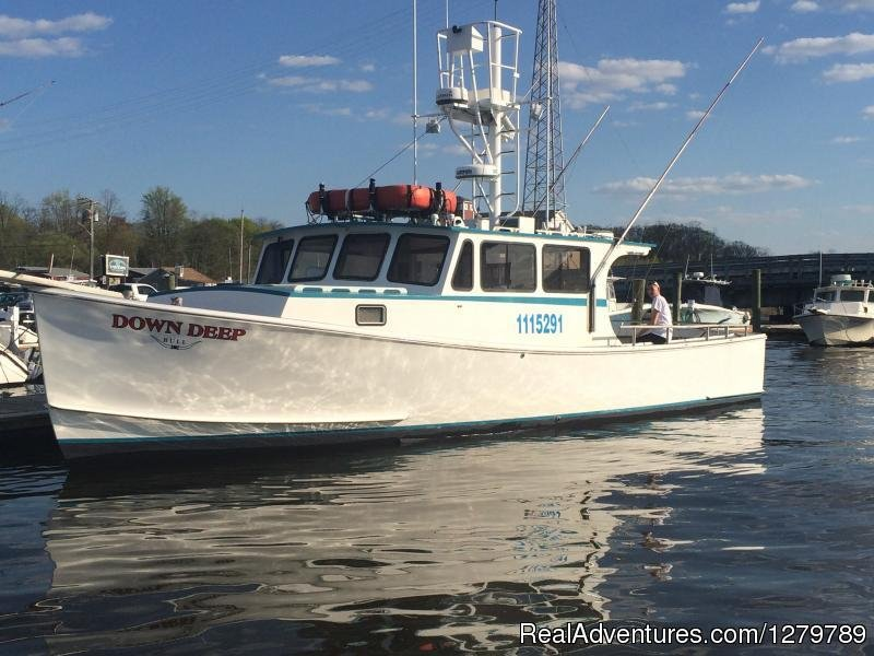 With over 50 yrs. experience, aboard a 40' immaculate U.S.C.G. certified 1-15 passenger custom built Downeaster with all amenities built for fishing, cruises, parties, corporate events, the Down Deep Bull is N.J.'s best fishing platform hands down.
