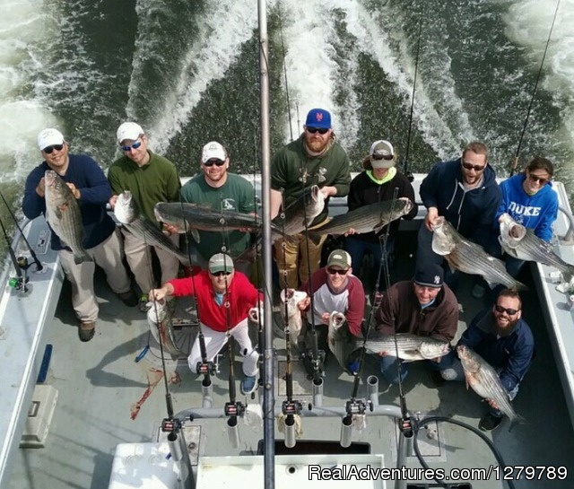 Incredible Striped Bass fishing. We get right on em - Down Deep Sport Fishing Fleet