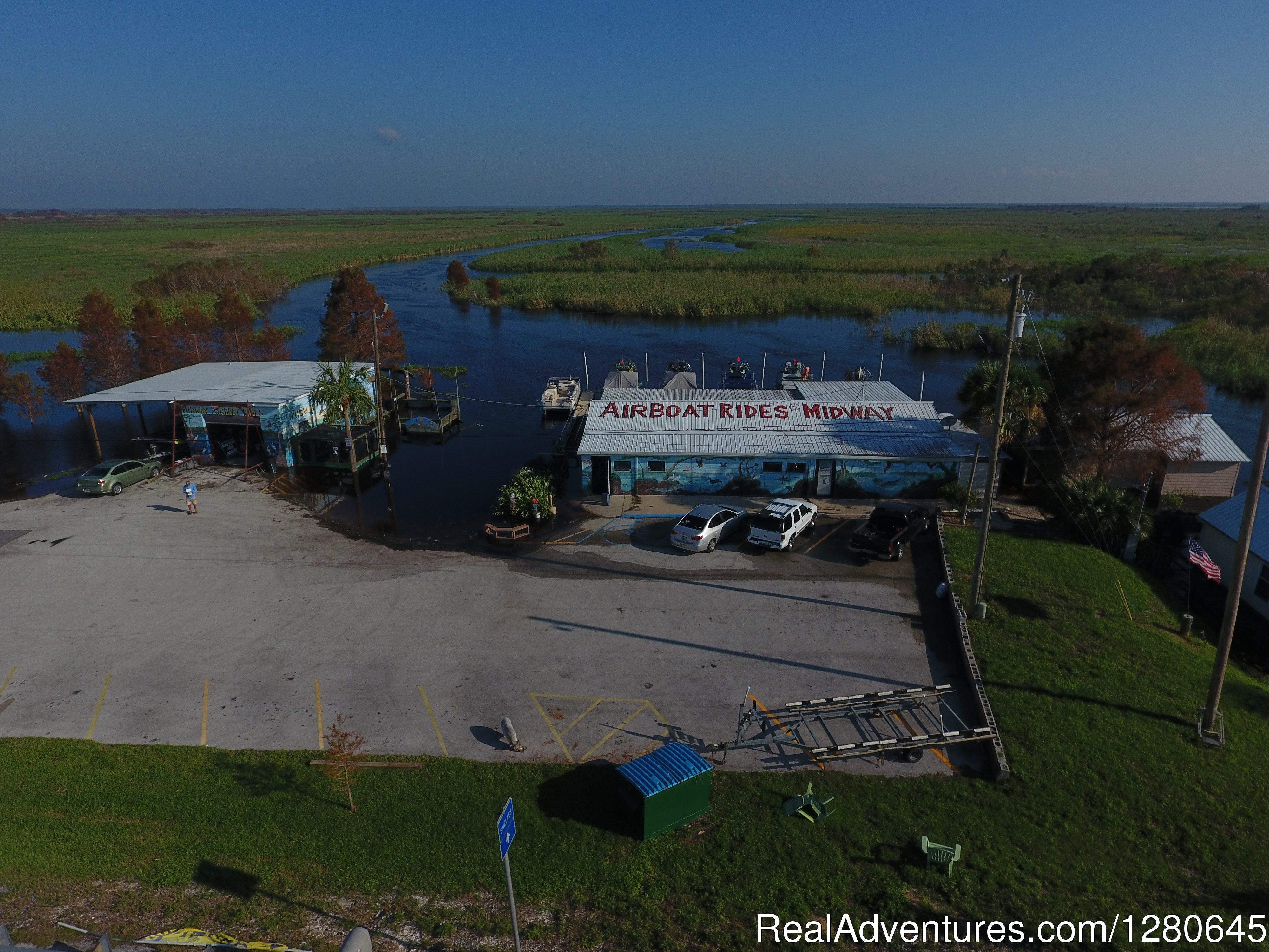 Ariel view of Midway Airboats | Image #2/15 | Midway Airboat Rides on St. Johns River