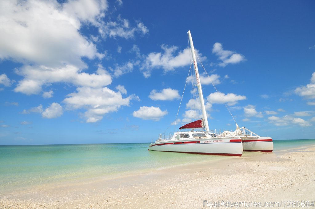 Sweet Liberty is the largest and longest running sailing catamaran in SW FL.  Sweet Liberty is 53' long and can accomodate up to 44 guests. We have three daily cruises to choose from. Shelling and sightseeing.Available for public and private cruises.