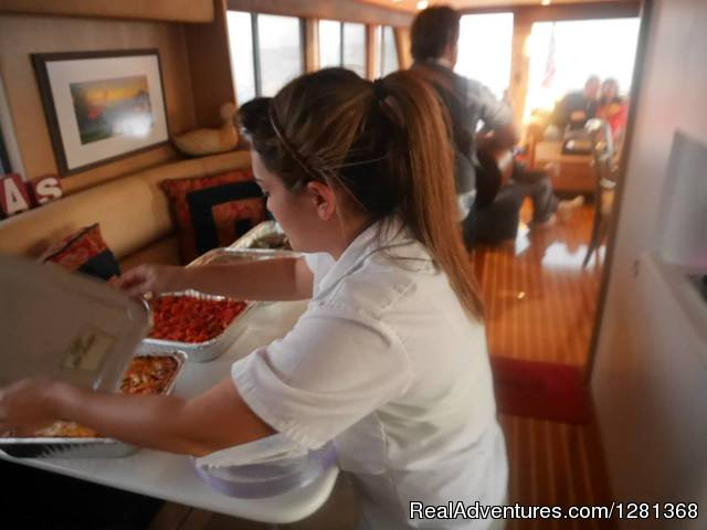 Dinner catered from Mazzaro's Italian Market - Florida Yachts Charter